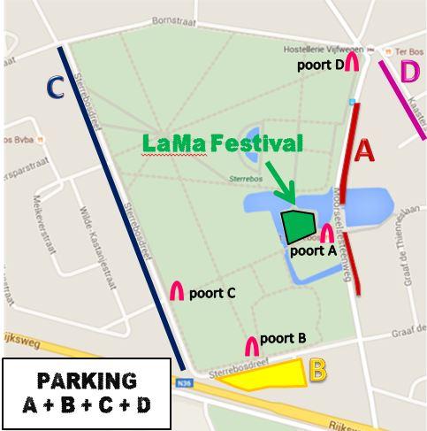 Parkeermogelijkheden LaMa Festival